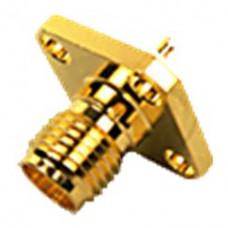 Гнездо SMA приборный фланец с 4-мя отверстиями gold