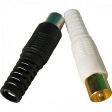 Штекер F под винт, обжим, на кабель, пластиковый колпачек