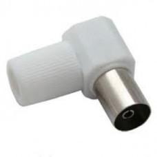 Штекер F под винт, обжим, на кабель, пластиковый колпачек, угловой